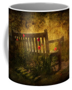 Empty Bench And Poppies Coffee Mug