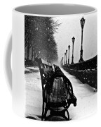 Empty Benches In The Snow Coffee Mug