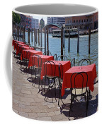 Empty Canal Side Tables Awaiting Hungry Customers In Venice, Italy  Coffee Mug