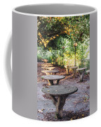 Empty Picnic Tables In The Early Fall With Fallen Leaves Coffee Mug