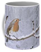 European Robin On Snowy Branch Coffee Mug