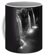 Evening Plunge Waterfall Black And White Coffee Mug