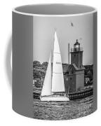 Evening Sail At Holland Light - Bw Coffee Mug