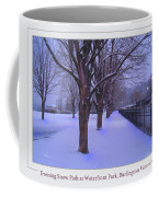Evening Snow Path At Waterfront Park Burlington Vermont Poster Greeting Card Coffee Mug