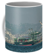 Evergreen Freight Ship And Cargo In Port Of Oakland, California Coffee Mug