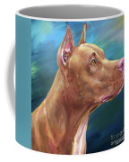 Expressive Painting Of A Red Nose Pit Bull On Blue Background Coffee Mug