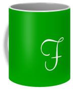 F In White Simple Script Coffee Mug