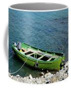 Faded Green Yellow Motor Power Boat Parked At Satpara Lake Pakistan Coffee Mug