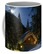 Fairy House In The Forest Moonlit Winter Night Coffee Mug