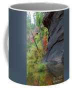 Fall Colors Peek Around Mountain Vertical Coffee Mug