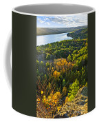 Fall Forest And Lake Top View Coffee Mug