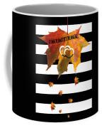 Fall Leaf Love Typography On Black And White Stripes Coffee Mug