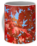 Fall Tree Leaves Red Orange Autumn Leaves Blue Sky Coffee Mug