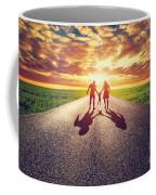 Family Walk On Long Straight Road Towards Sunset Sun Coffee Mug