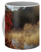 Fantastic Foggy River With Fresh Green Grass In The Sunlight. Coffee Mug