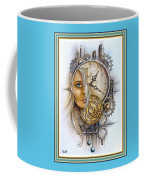 Fantasy Art - Time Encaptulata For A Woman's Face, Clock, Gears And More. L A S With Ornate Frame. Coffee Mug