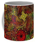 Fantasy Flowers Woodcut Coffee Mug