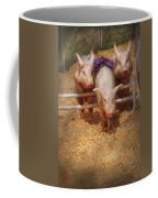 Farm - Pig - Getting Past Hurdles Coffee Mug by Mike Savad