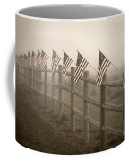Farm With Fence And American Flags Coffee Mug
