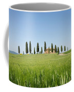 Farmhouse With Cypress Trees And Crops In Tuscany Coffee Mug