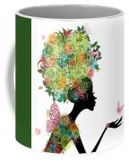 Fashion Girl With Hair Arabesque Coffee Mug