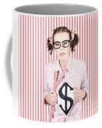 Female Business Superhero Showing Dollar Sign Coffee Mug