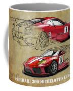 Ferrari 360 Michelotto Le Mans Race Car. Two Drawings One Print Coffee Mug