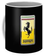 Ferrari 3d Badge- Hood Ornament On Black Coffee Mug