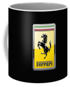 Ferrari 3d Badge- Hood Ornament On Black Coffee Mug