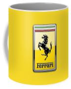 Ferrari 3d Badge- Hood Ornament On Yellow Coffee Mug