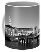 Ferry Building And Pinnacle Building - San Francisco Embarcadero - Black And White Coffee Mug