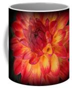 Fiery Red And Yellow Dahlia Coffee Mug