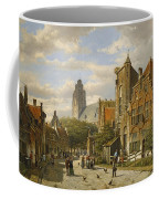 Figures In The Streets Of A Wintry Dutch Town Coffee Mug