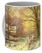 Figures On A Path Before A Village In Winter Coffee Mug by Johannes Hermann Barend Koekkoek