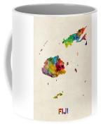 Fiji Watercolor Map Coffee Mug