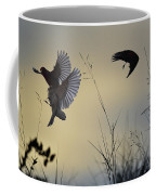 Finches Silhouette With Leaves 5 Coffee Mug