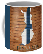 Finland Rustic Map On Wood Coffee Mug