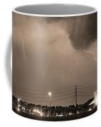 Fire Rescue Station 67  Lightning Thunderstorm Sepia Black And W Coffee Mug