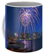 Fireworks Over The Boston Skyline Boston Harbor Illumination Streaming Down Coffee Mug