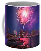 Fireworks Over The Boston Skyline Boston Harbor Illumination Coffee Mug