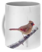 First Snow - Female Cardinal Bird Coffee Mug