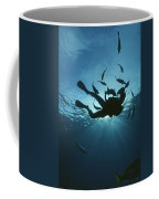Fish Swim Around A Diver In The Cayman Coffee Mug