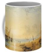 Fisherfolk On The Shore Near Dover At Sunset Coffee Mug
