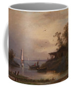 Fishermen In The Harbour Coffee Mug