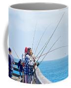 Fishermen On Commercial Pier In Monterey-california  Coffee Mug
