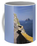 Fishing Boat Approaching Skellig Michael, County Kerry, In Spring Sunshine, Ireland Coffee Mug
