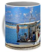 Fishing Boat Moored In The Harbor Of Katakolon Greece Coffee Mug