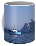 Fishing Boat Near Little Skellig, County Kerry, In Spring Sunshine, Ireland Coffee Mug