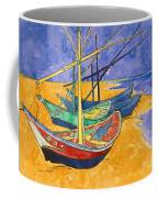 Fishing Boats On The Beach At Saintes Maries De La Mer Coffee Mug by Vincent Van Gogh