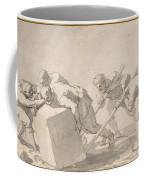 Five Men Pushing A Block Of Stone Coffee Mug